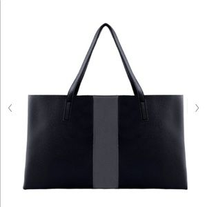 Vince Camuto Tote Black with Grey Stripe